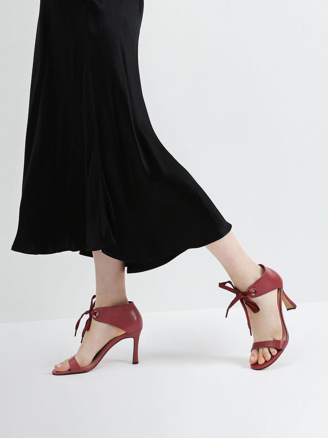 Bow Ankle Strap Sculptural Heel Sandals, Red, hi-res
