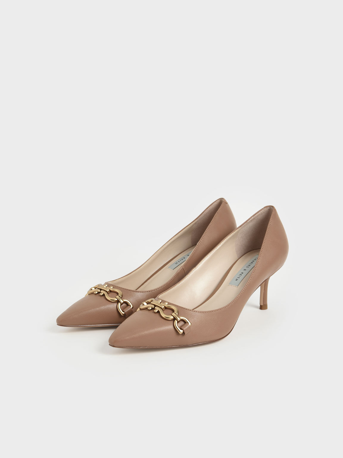 Chain Link Pointed Toe Pumps, Camel, hi-res