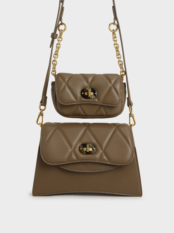 Padded Double Pocket Shoulder Bag, Khaki, hi-res
