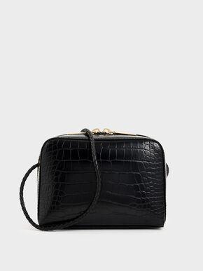 Croc-Effect Mini Rectangular Crossbody Bag, Black, hi-res