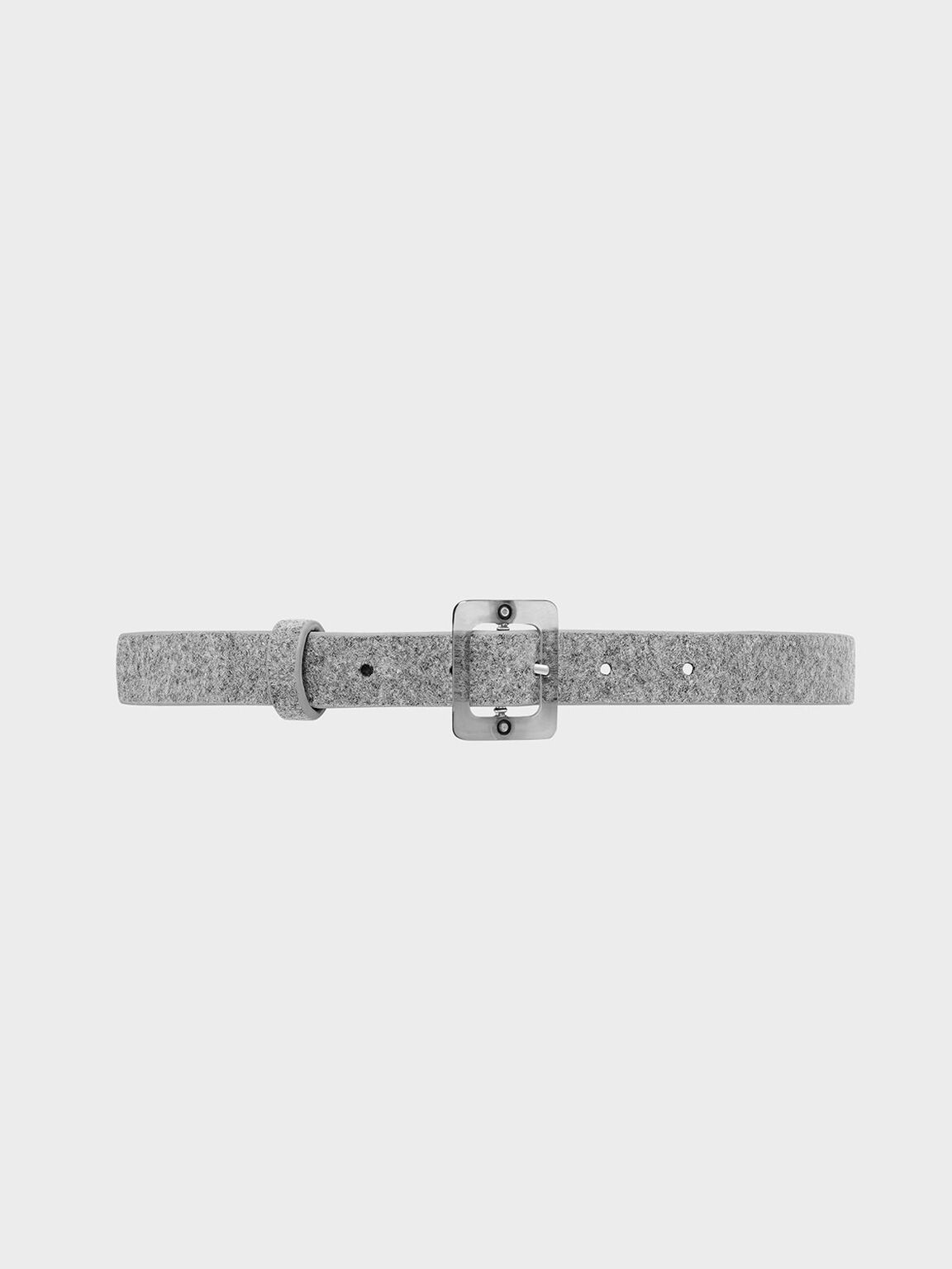 Felt Oversized Acrylic Buckle Belt, Grey, hi-res