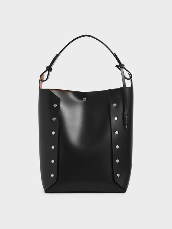 Large Reversible Studded Tote Bag, Black, hi-res