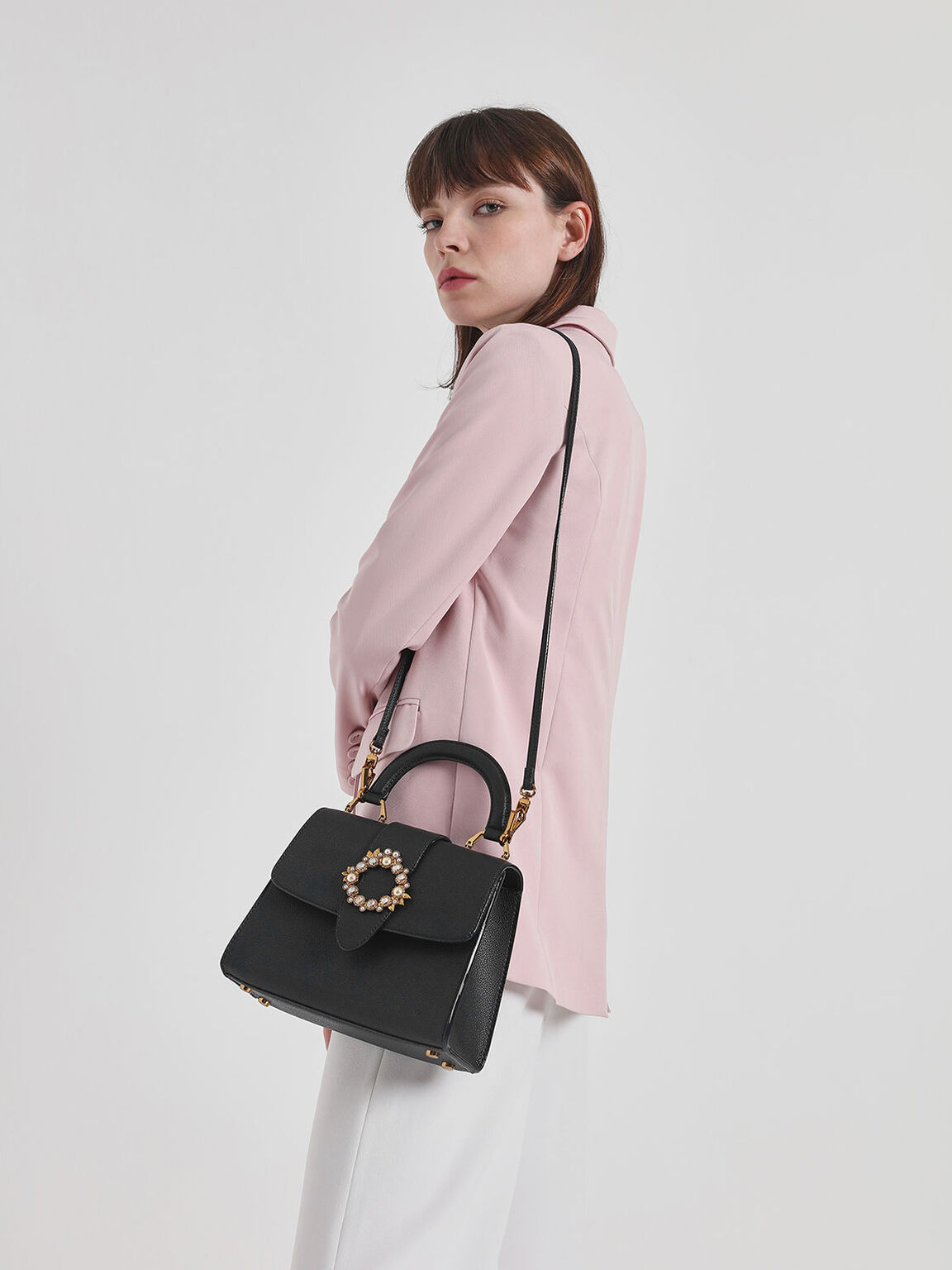 Embellished Buckle Top Handle Bag, Black, hi-res