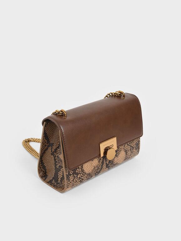 Snake Print Chain Strap Clutch, Brown, hi-res