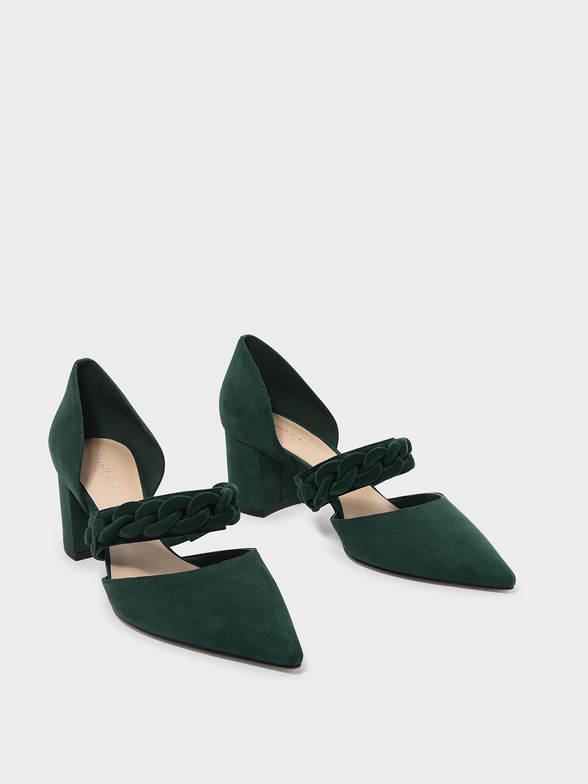 Chain Detail Pointed Heels, Dark Green, hi-res