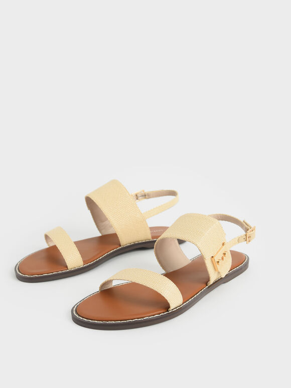 Raffia Metallic Buckle Sandals, Sand, hi-res