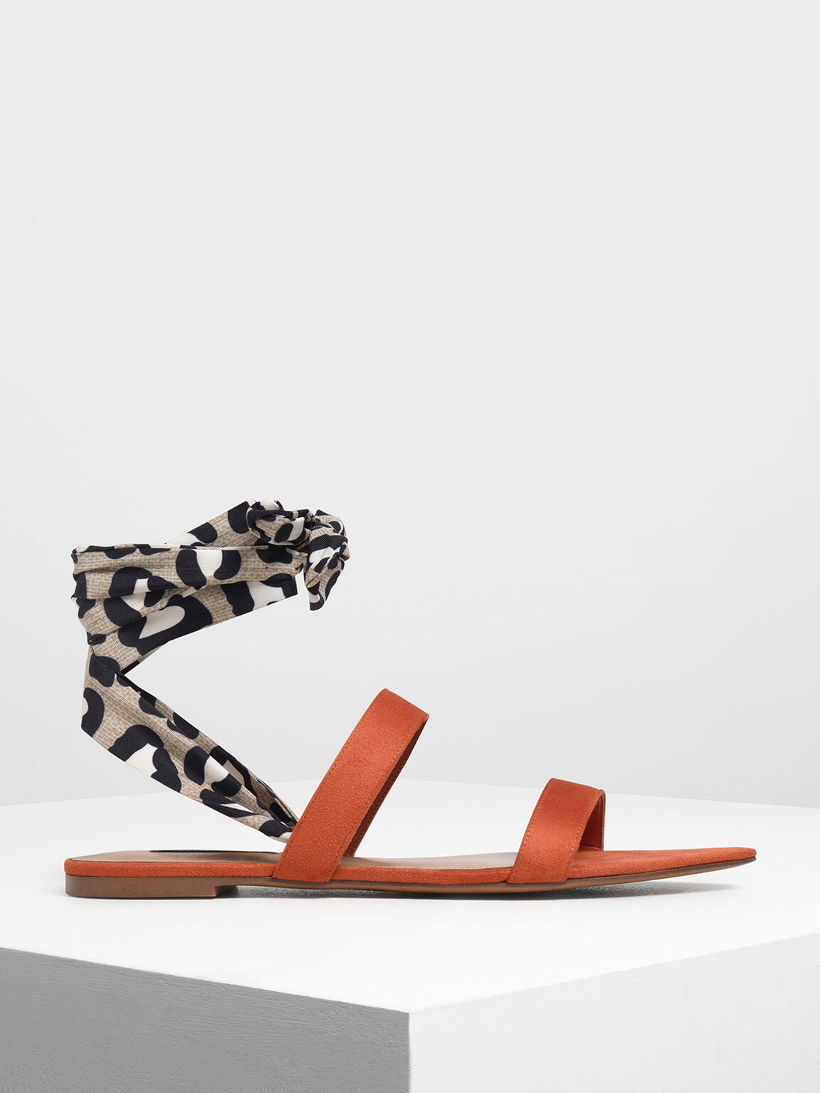 Leopard Print Ankle Wrap Sandals, Brick, hi-res