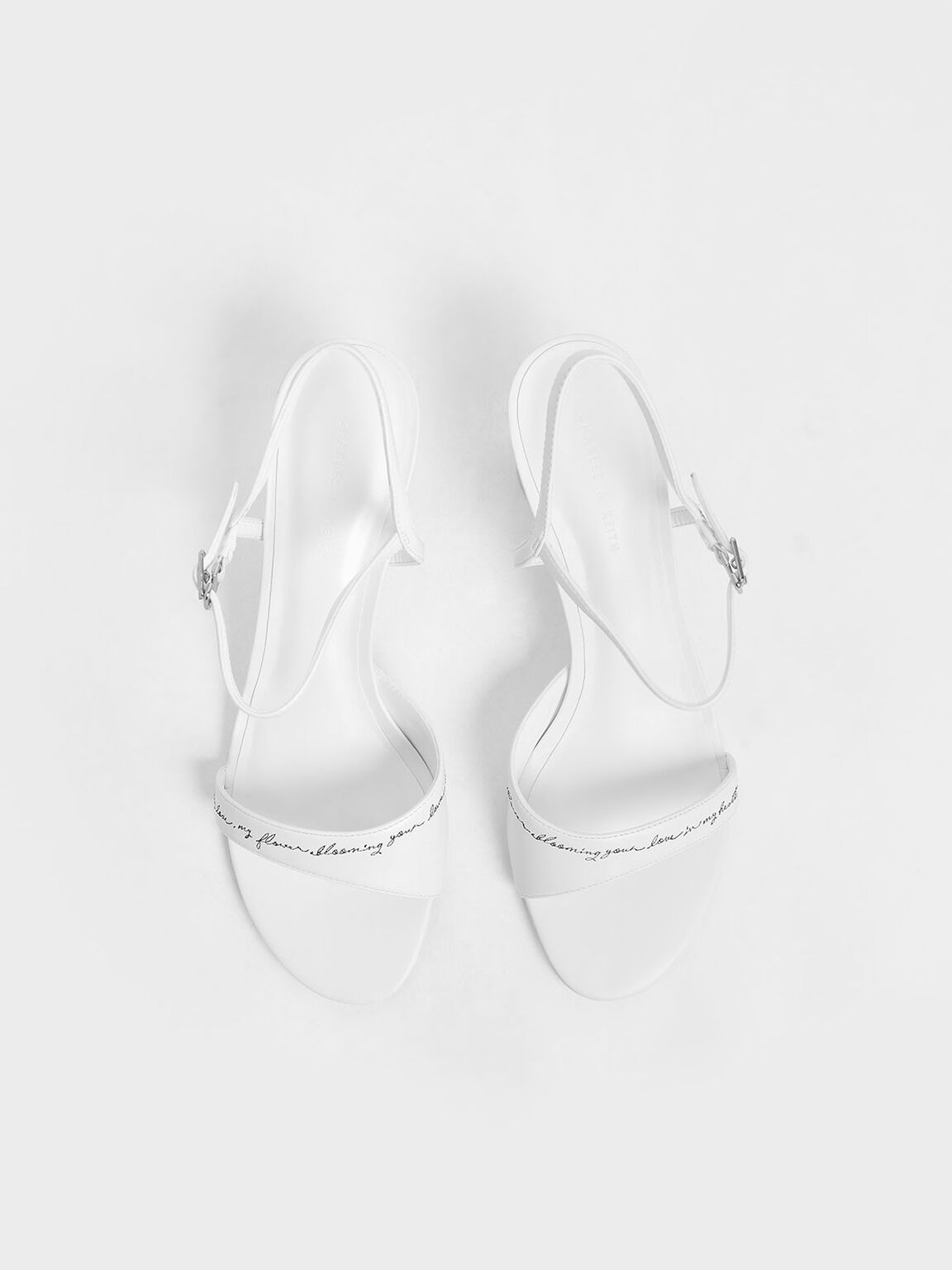 Embroidered Lucite Sculptural Heel Sandals, White, hi-res