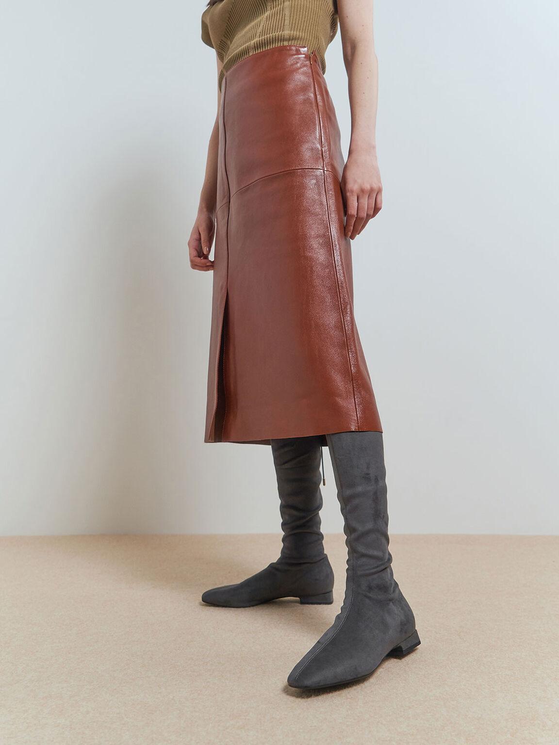 Textured Thigh High Boots, Dark Grey, hi-res