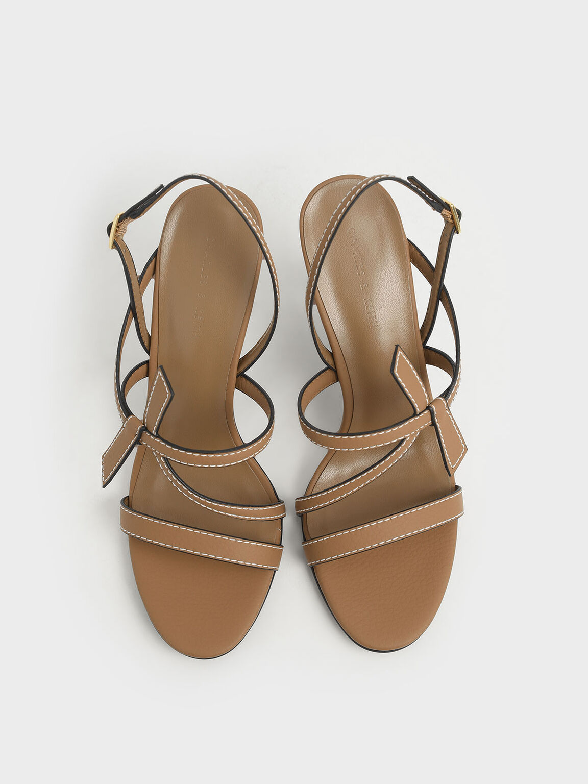 Front Knot Tie Stiletto Sandals, Camel, hi-res