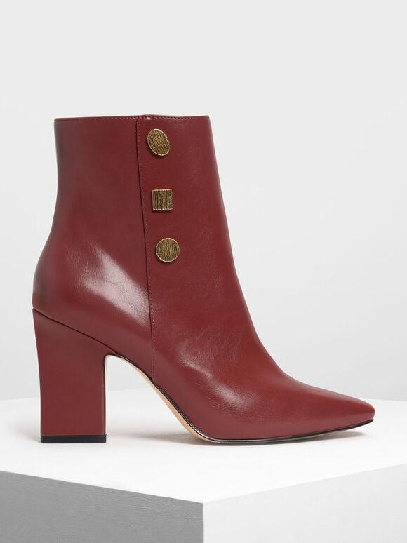 復古鉚釘短靴, 酒紅色, hi-res