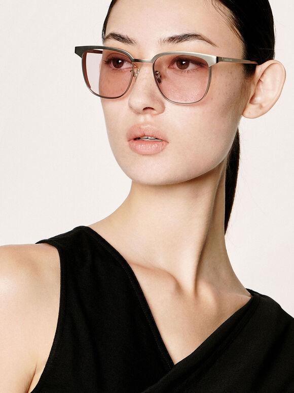 Tinted Rectangular Sunglasses, Pink, hi-res