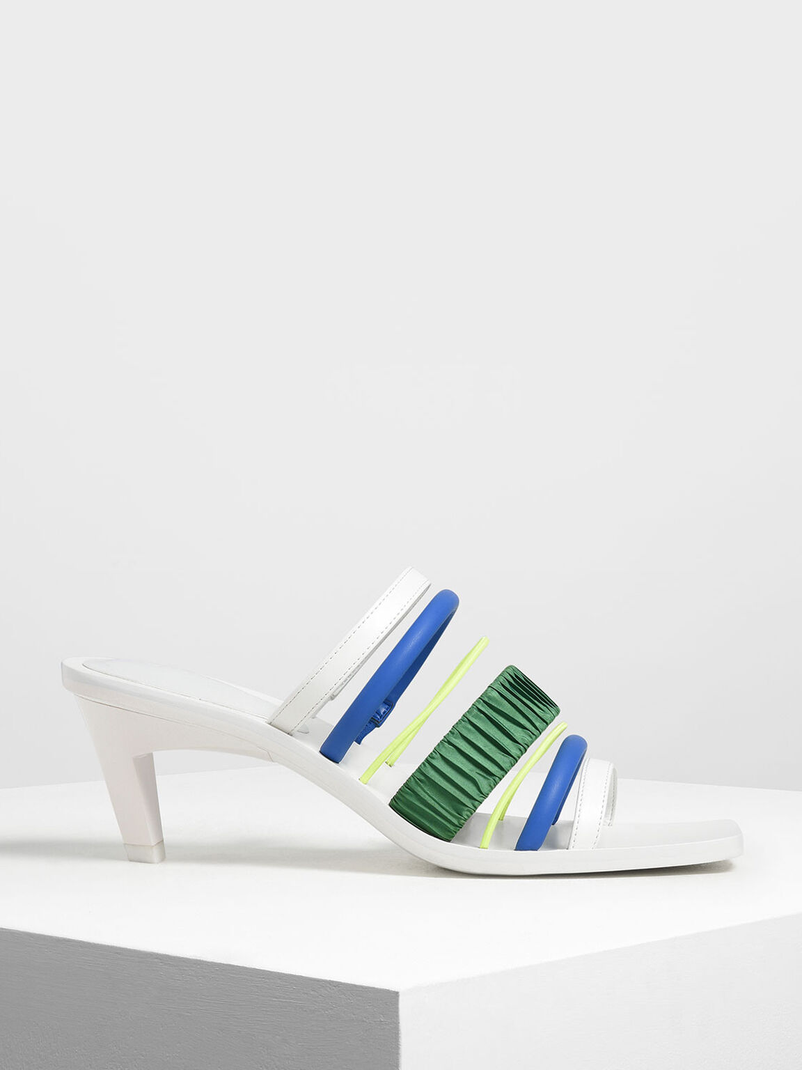 Multi-Coloured Strappy Heels, White, hi-res