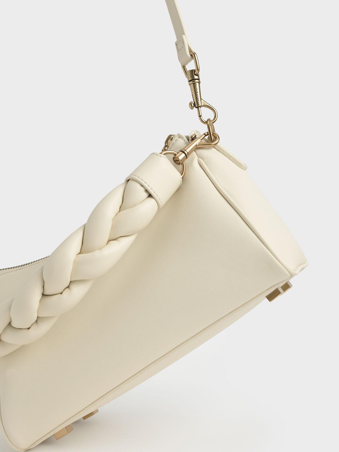 麻花手提軟質包, 石灰白, hi-res