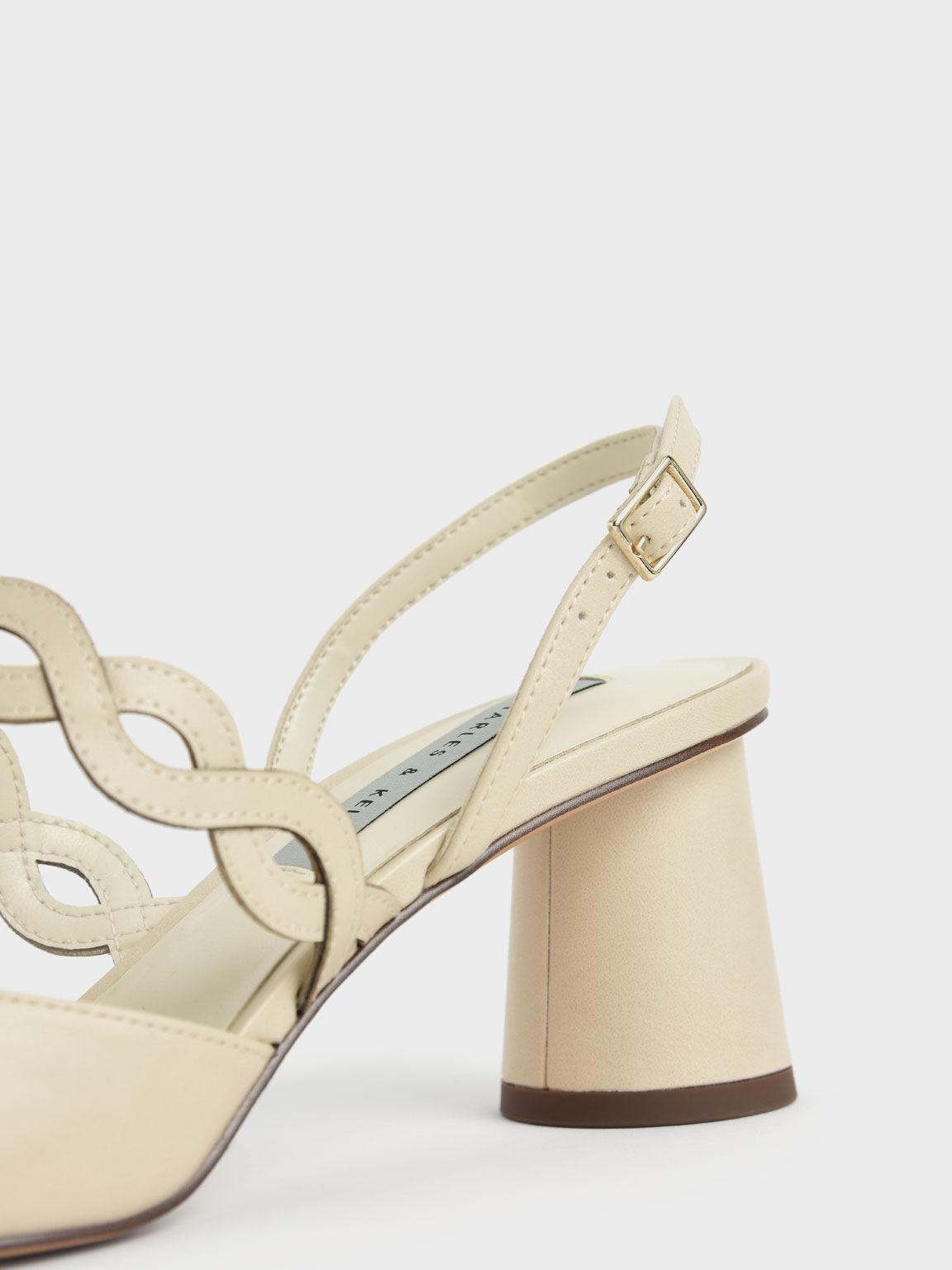 編織帶尖頭跟鞋, 石灰白, hi-res