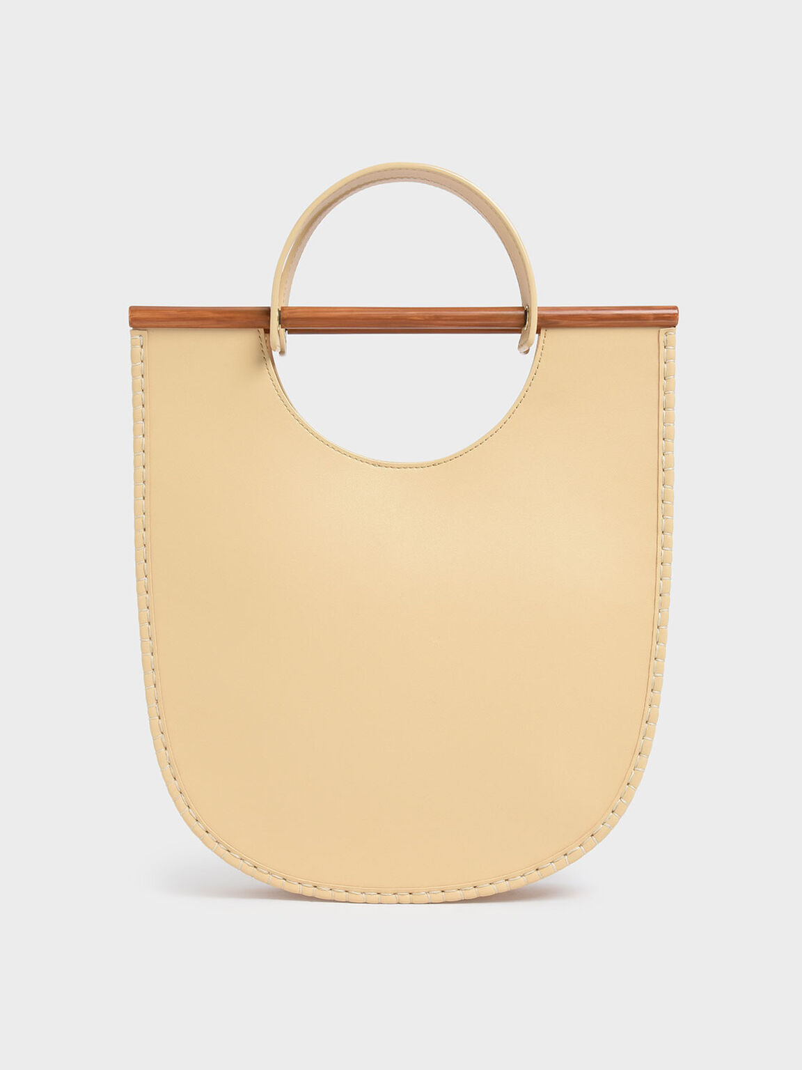 U-Shaped Whipstitch Tote, Yellow, hi-res