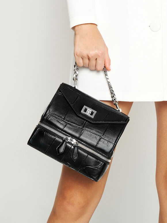Croc-Effect Two-Way Zip Handbag, Black, hi-res