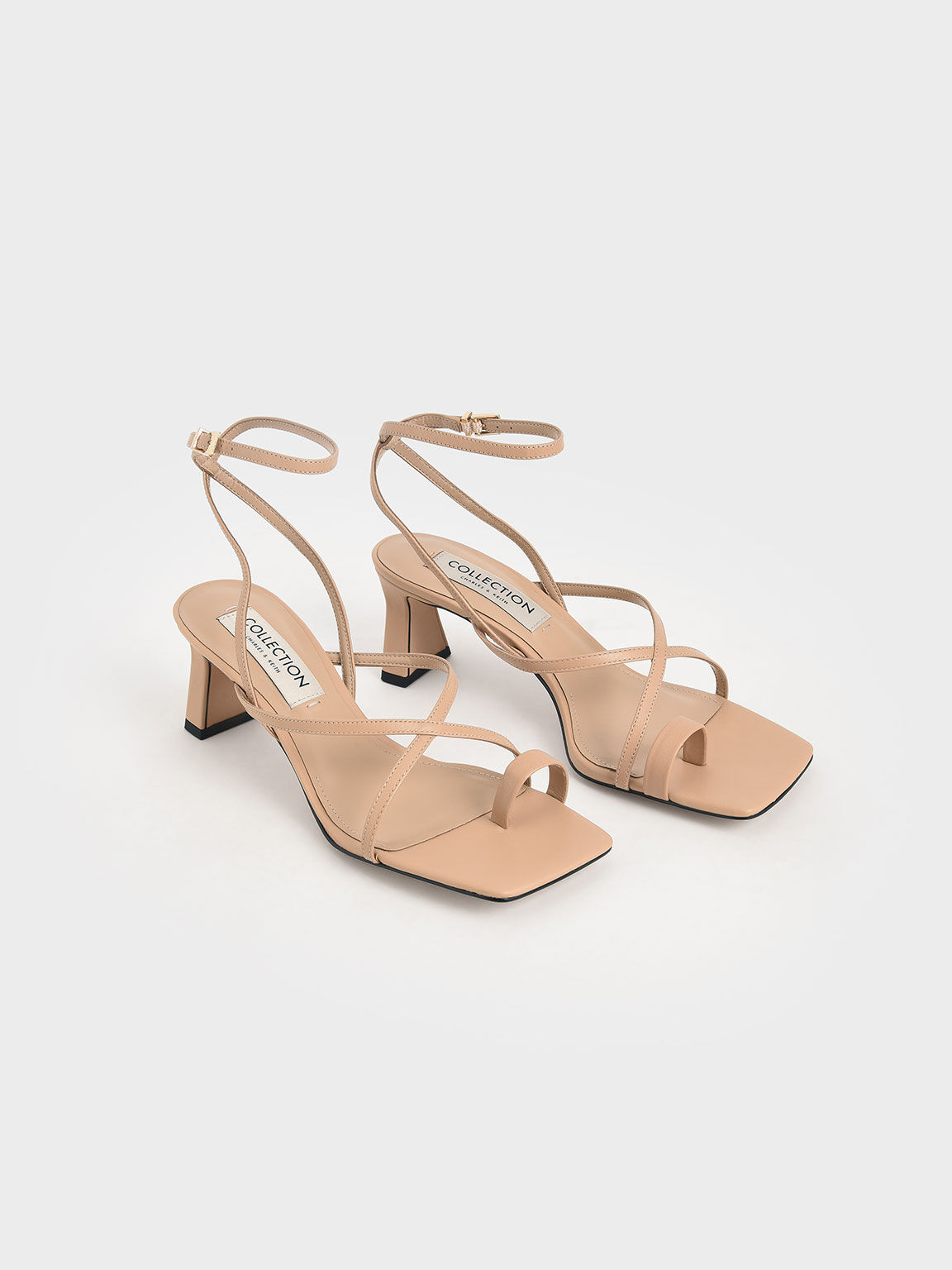 Leather Strappy Crossover Sandals, Nude, hi-res