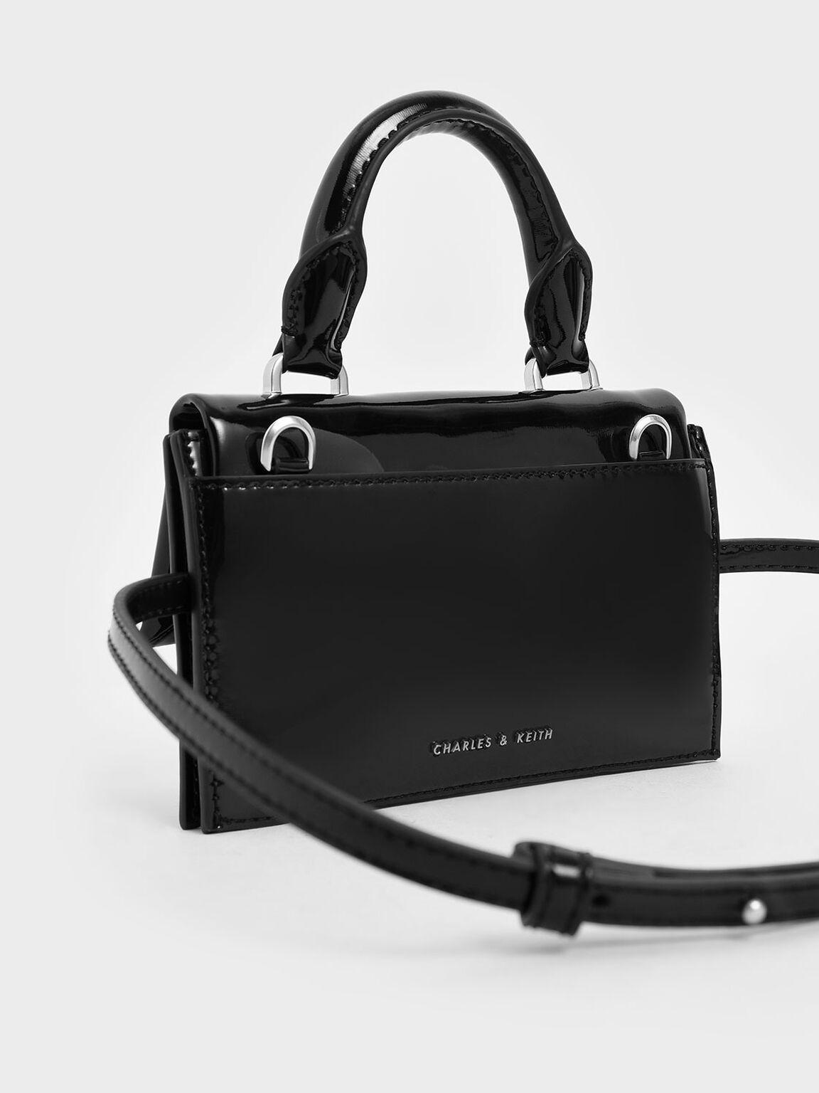 Patent Belt Bag, Black, hi-res