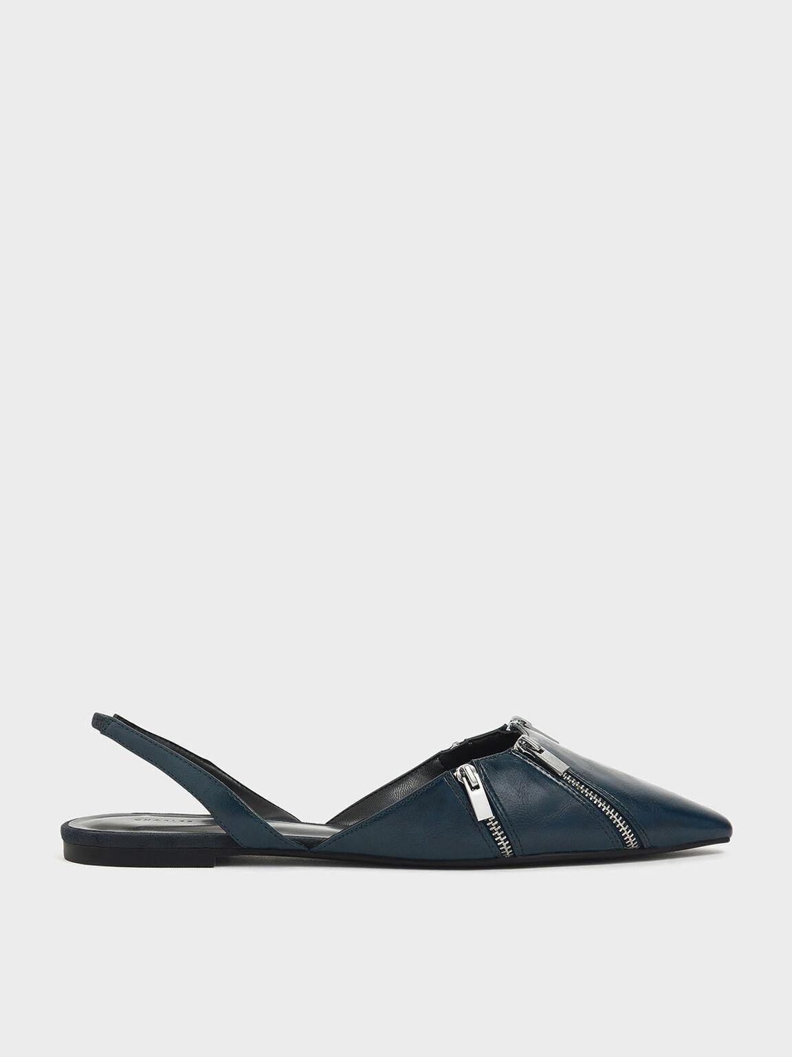 Zip Detail Pointed Toe Slingback Flats, Dark Green, hi-res