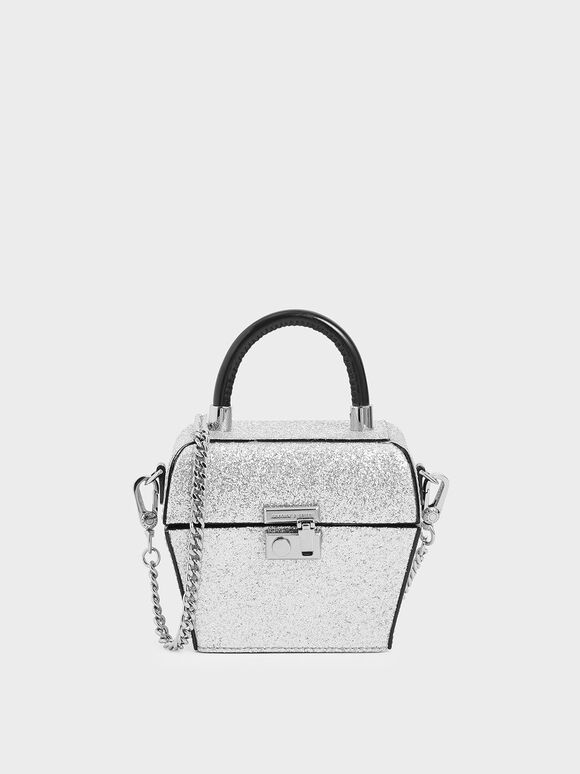 Glitter Patent Mini Sculptural Top Handle Bag, Silver, hi-res