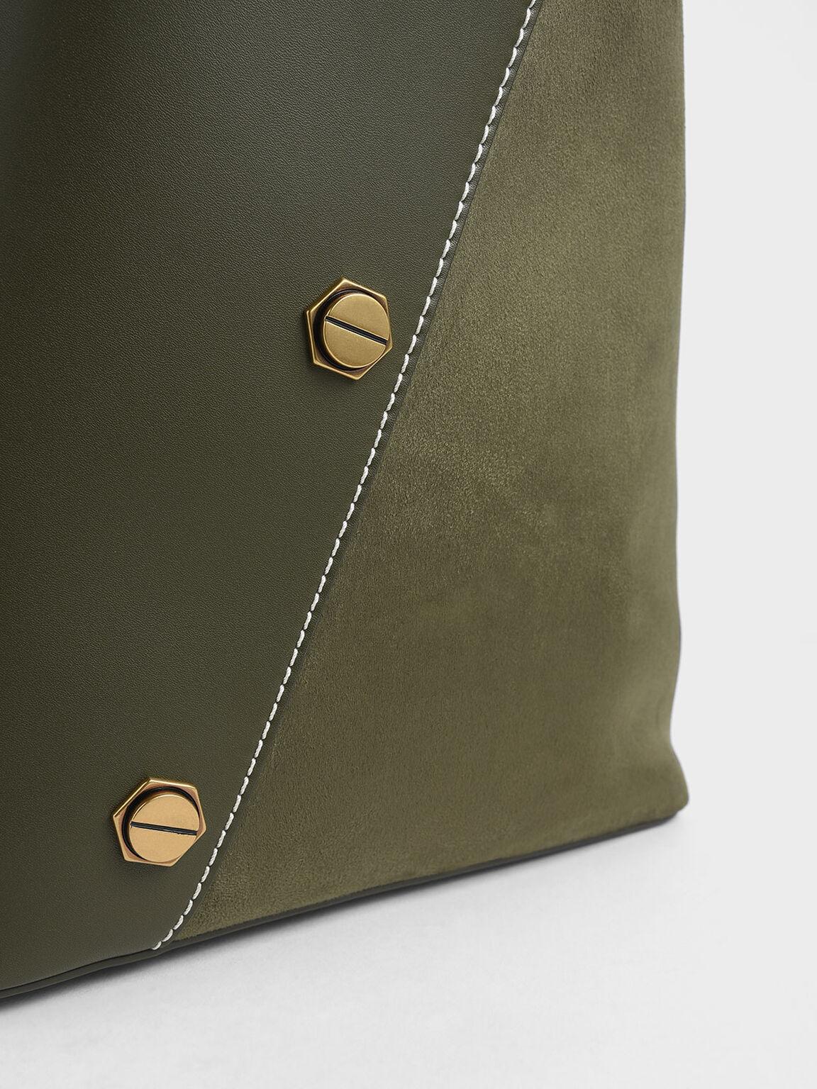 Studded Textured Hobo Bag, Olive, hi-res