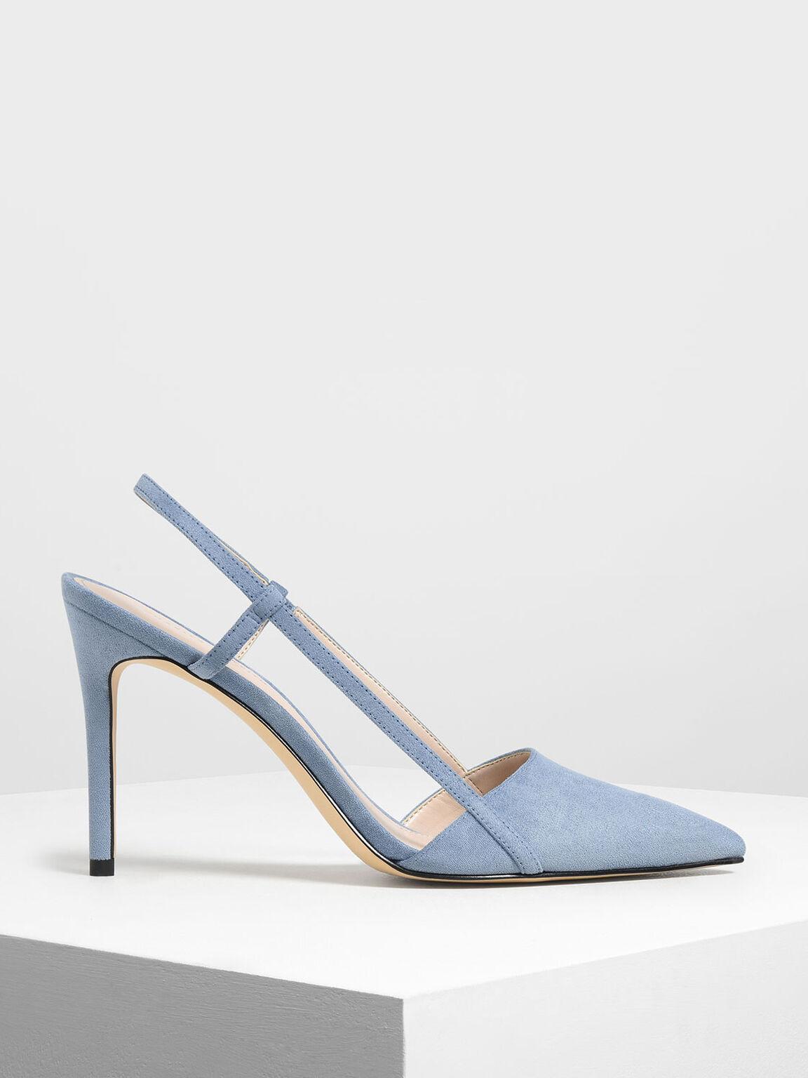 Pointed Toe Slingback Heels, Light Blue, hi-res