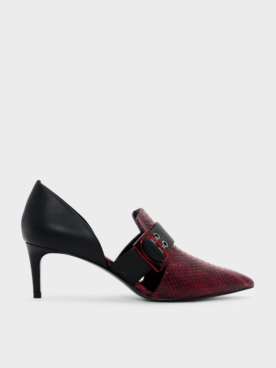 Oversized Buckle Pointed Pumps, Red, hi-res