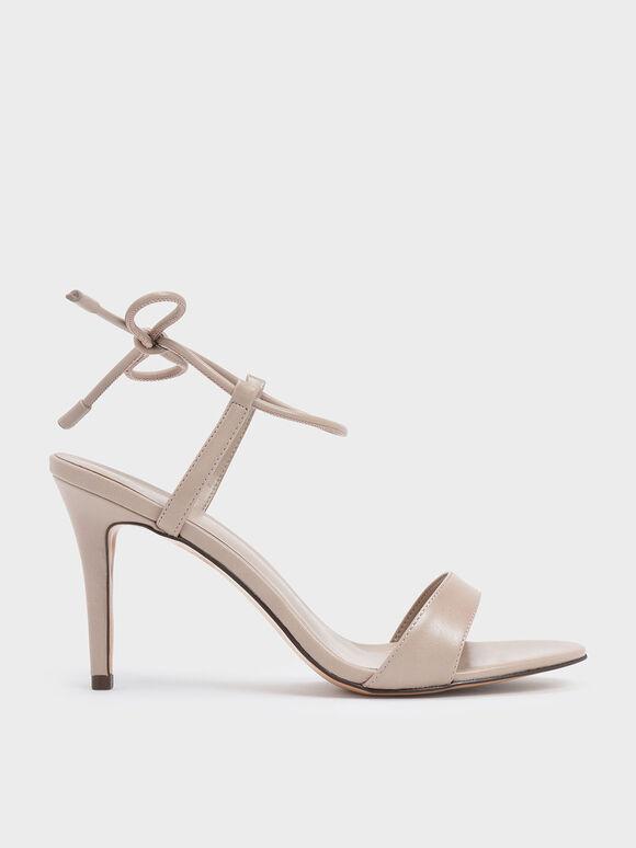 Ankle Tie Stiletto Sandals, Nude, hi-res