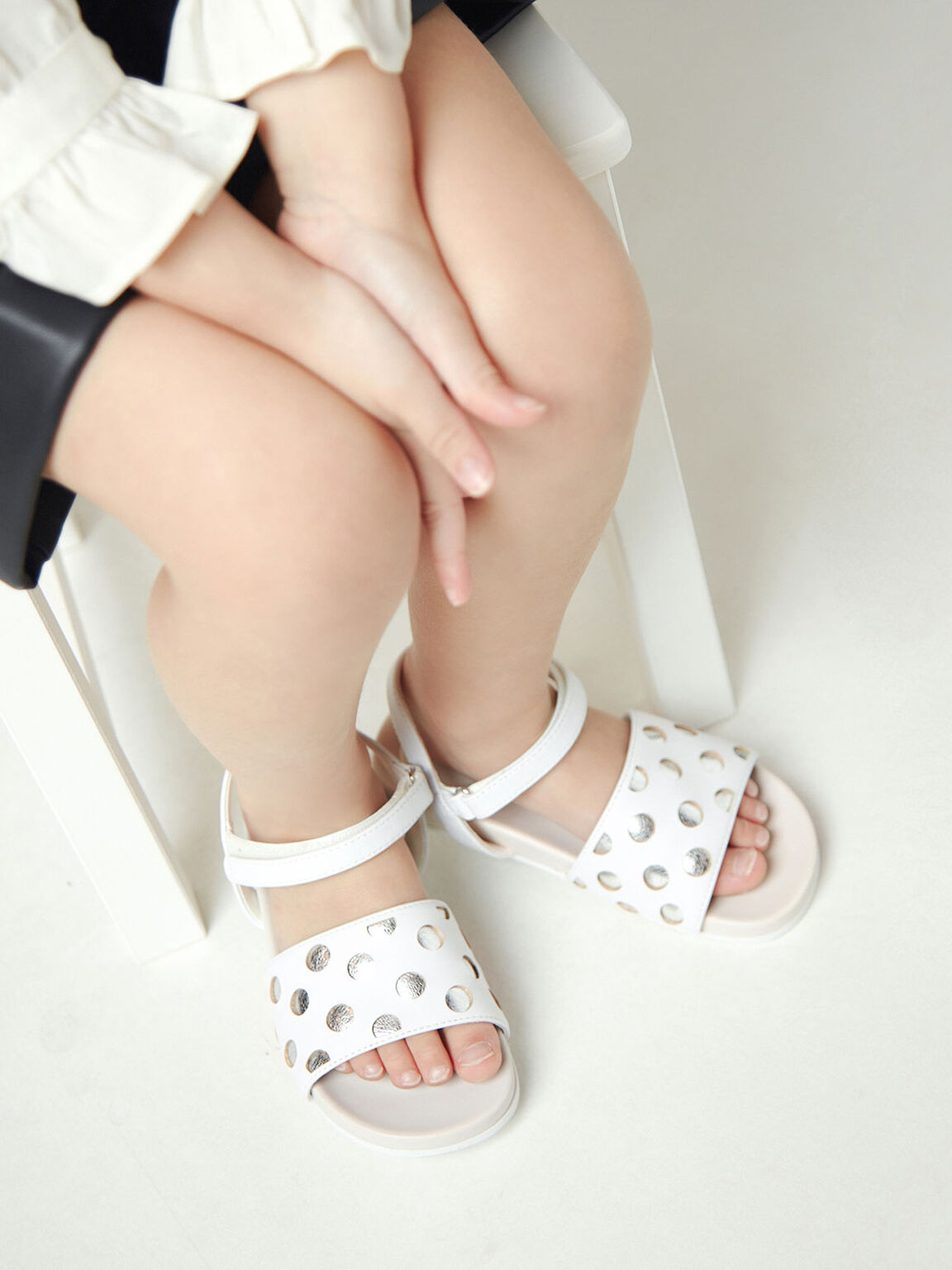 Girls' Laser-Cut Sandals, White, hi-res