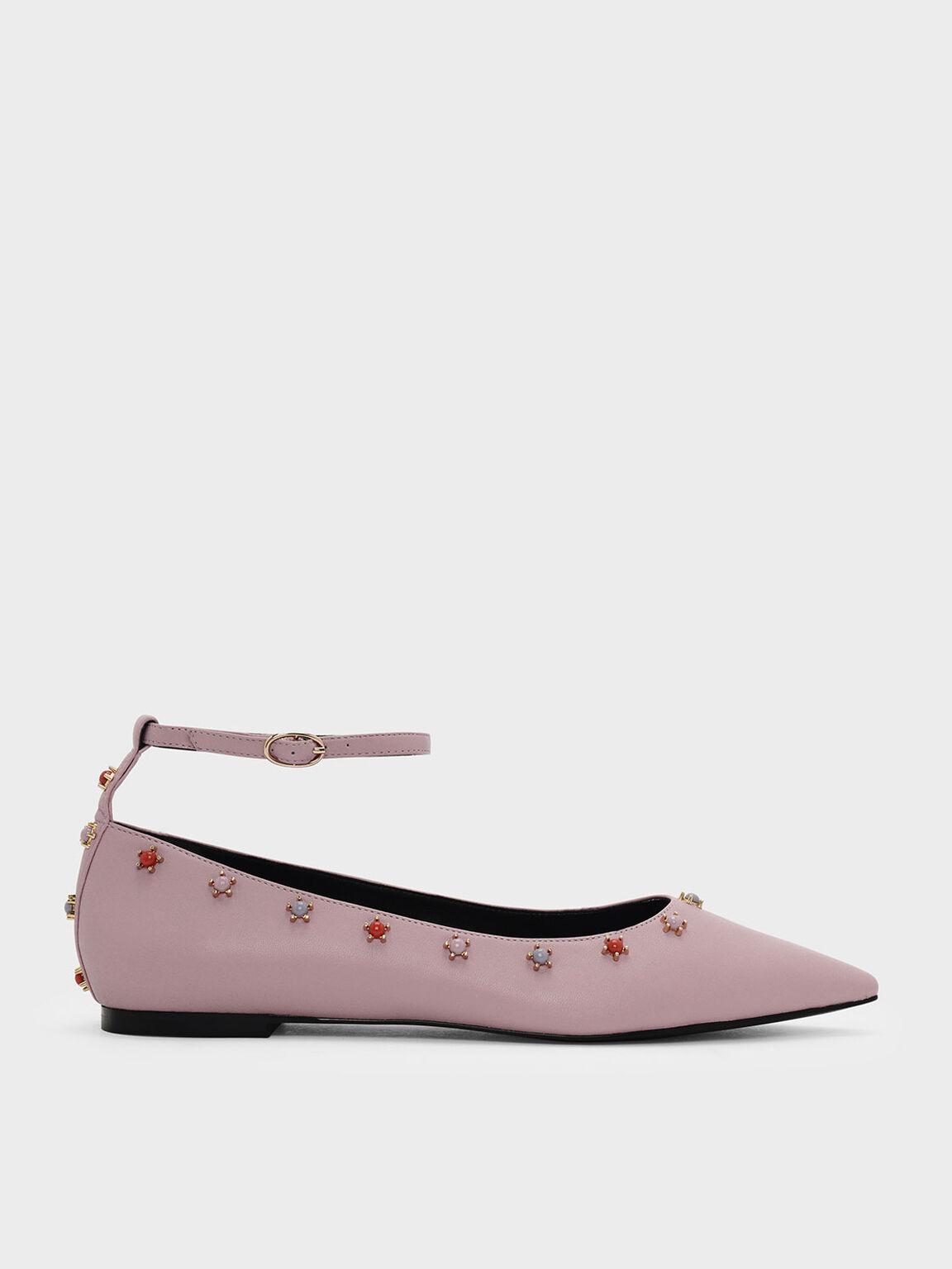 Ankle Strap Embellished Leather Flats, Pink, hi-res