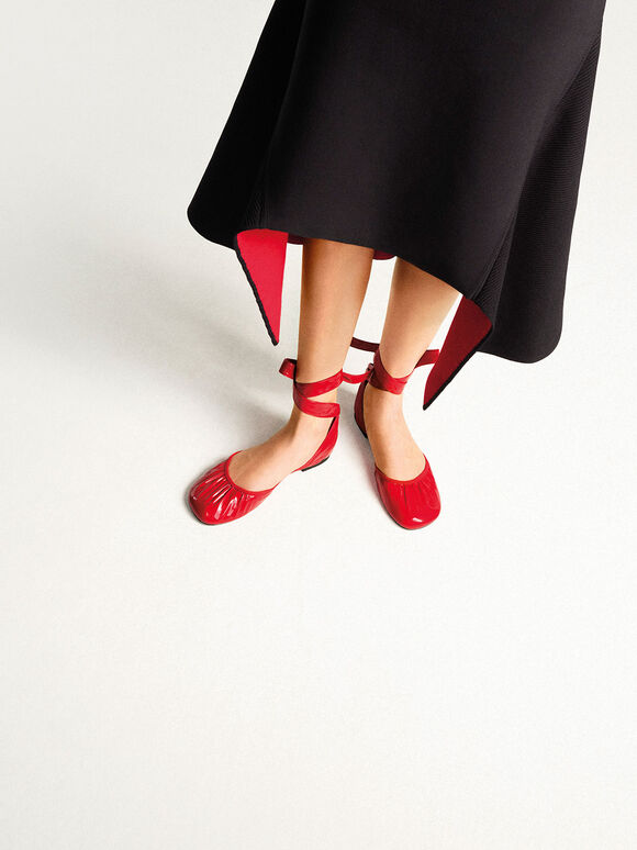Limited Edition: Patent Tie-Around D'Orsay Flats, Red, hi-res