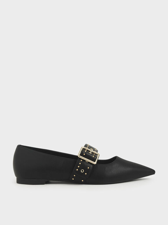 Studded Mary Jane Ballerina Flats, Black, hi-res