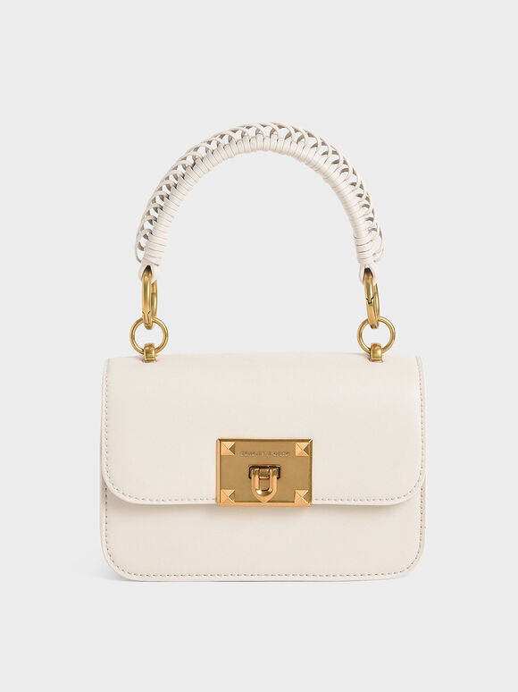 Metallic Turn-Lock Bag, Ivory, hi-res