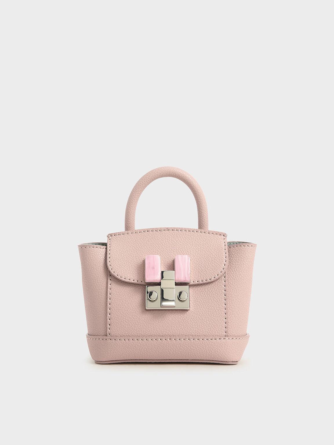 Stone-Embellished Pouch Bag, Pink, hi-res