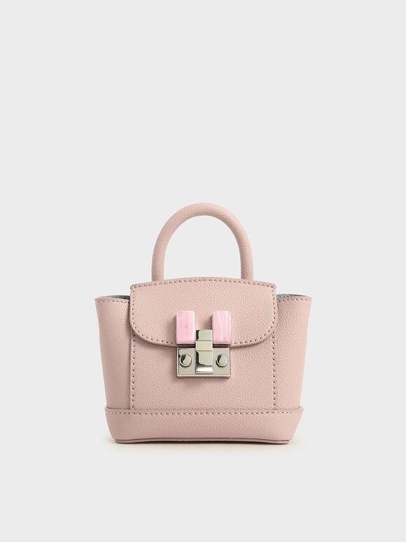 琥珀扣迷你包, 粉紅色, hi-res