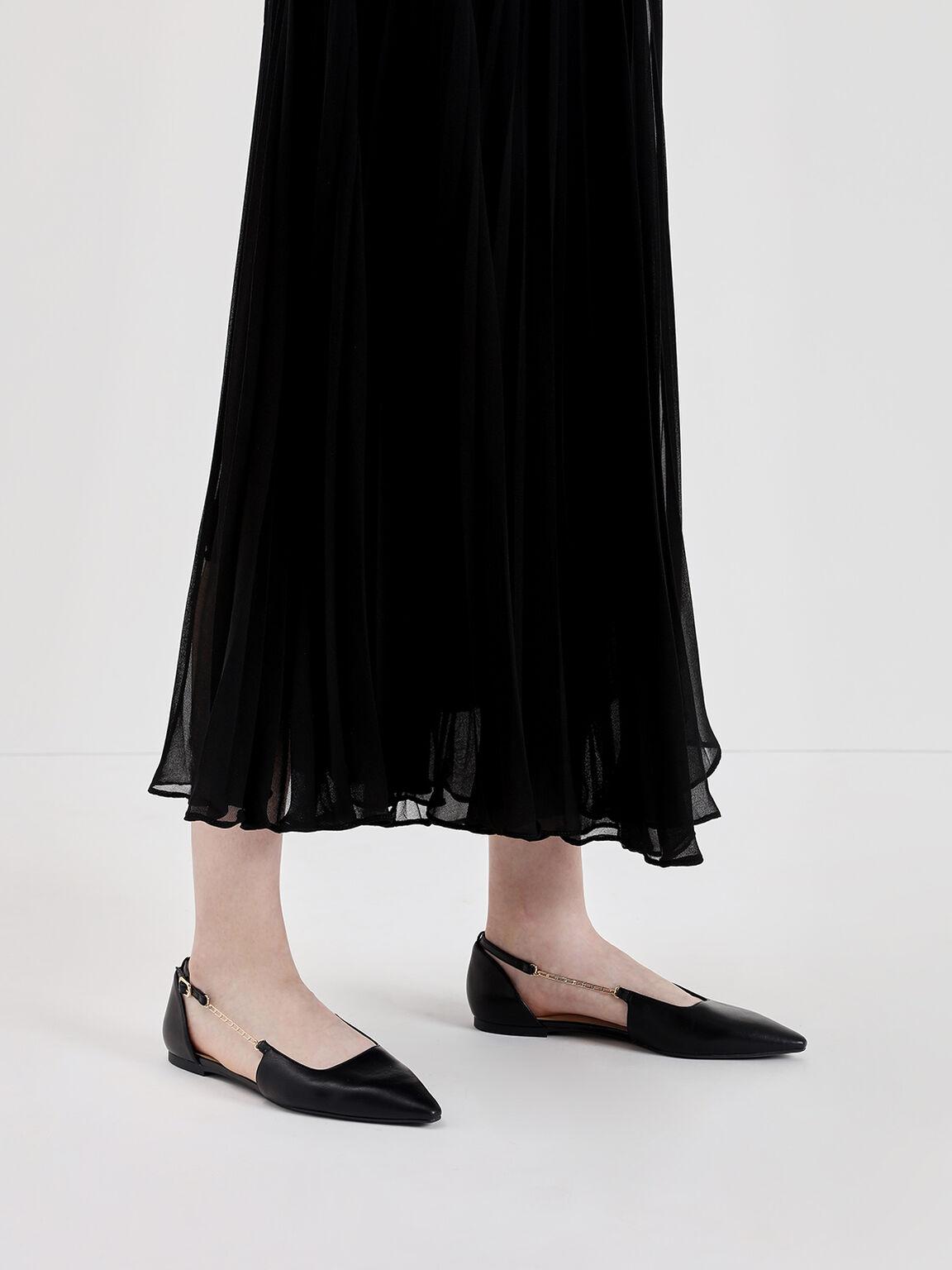 Chain Strap Ballerina Flats, Black, hi-res
