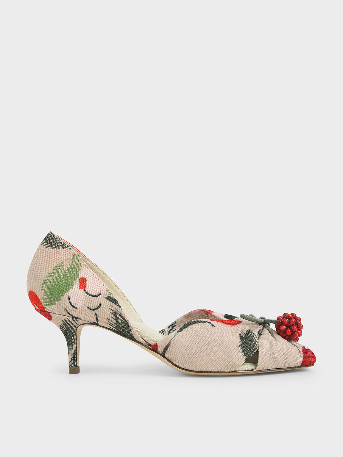 Cherry Embellished Peep-Toe D'Orsay Pumps, Multi, hi-res