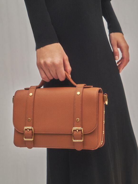 Satchel Messenger Bag, Cognac, hi-res