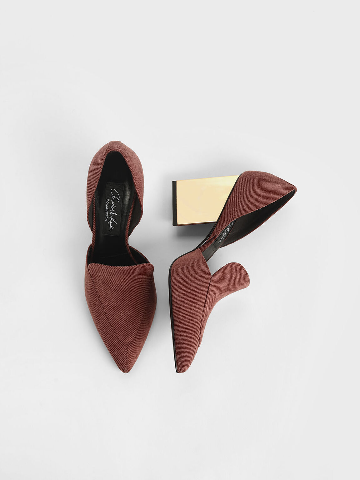 Sculptural Heel Corduroy Pumps, Brick, hi-res