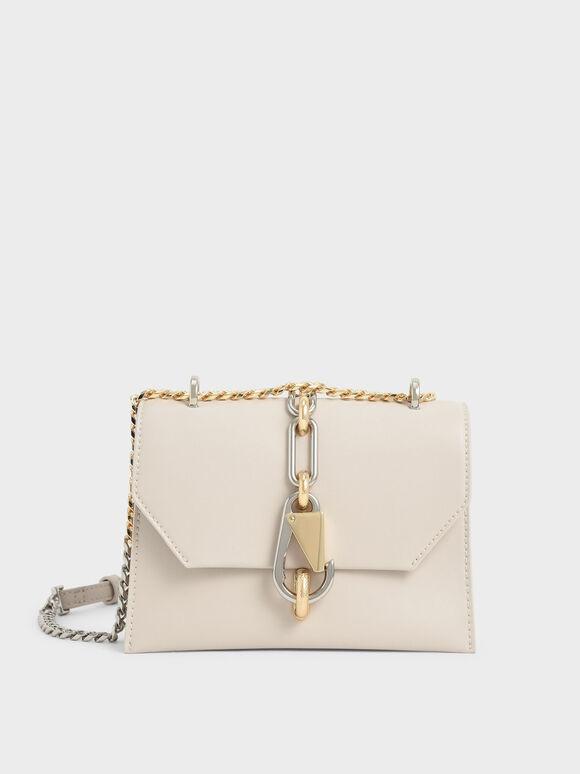 Metallic Accent Turn-Lock Crossbody Bag, Ivory, hi-res