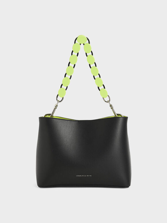 Acrylic Handle Bucket Bag, Black, hi-res