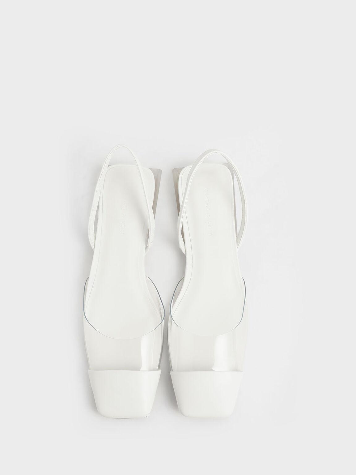 果凍方頭涼鞋, 白色, hi-res