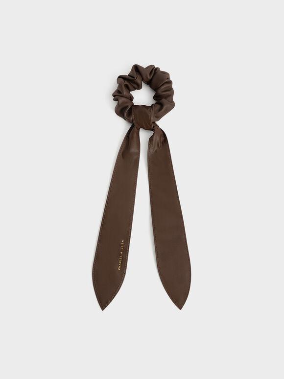 Riley Ruched Bow Scrunchie, Dark Brown, hi-res