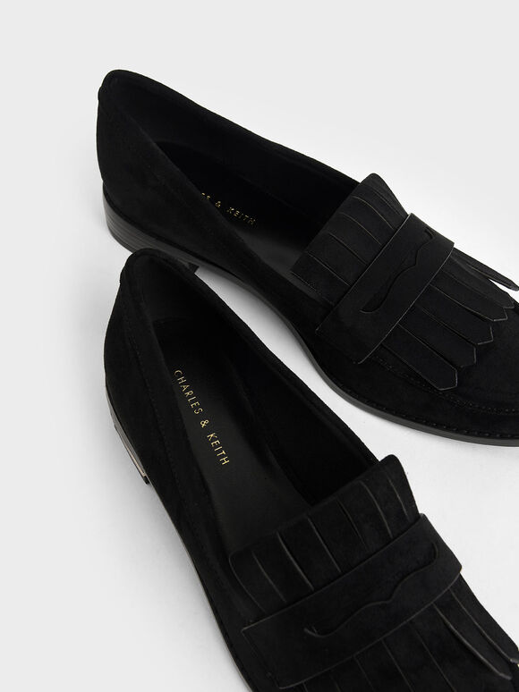 Textured Frill Loafers, Black Textured, hi-res