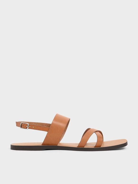 交叉帶平底涼鞋, 土黃色, hi-res