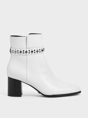 Leather Embellished Ankle Boots, White