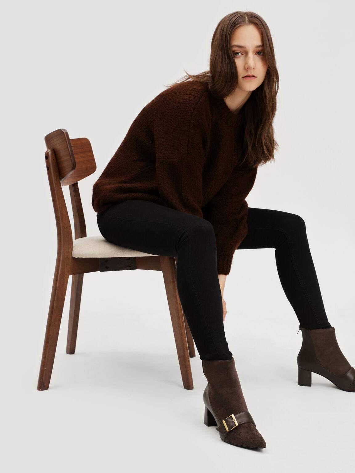 Buckle Detail Ankle Boots, Dark Brown, hi-res