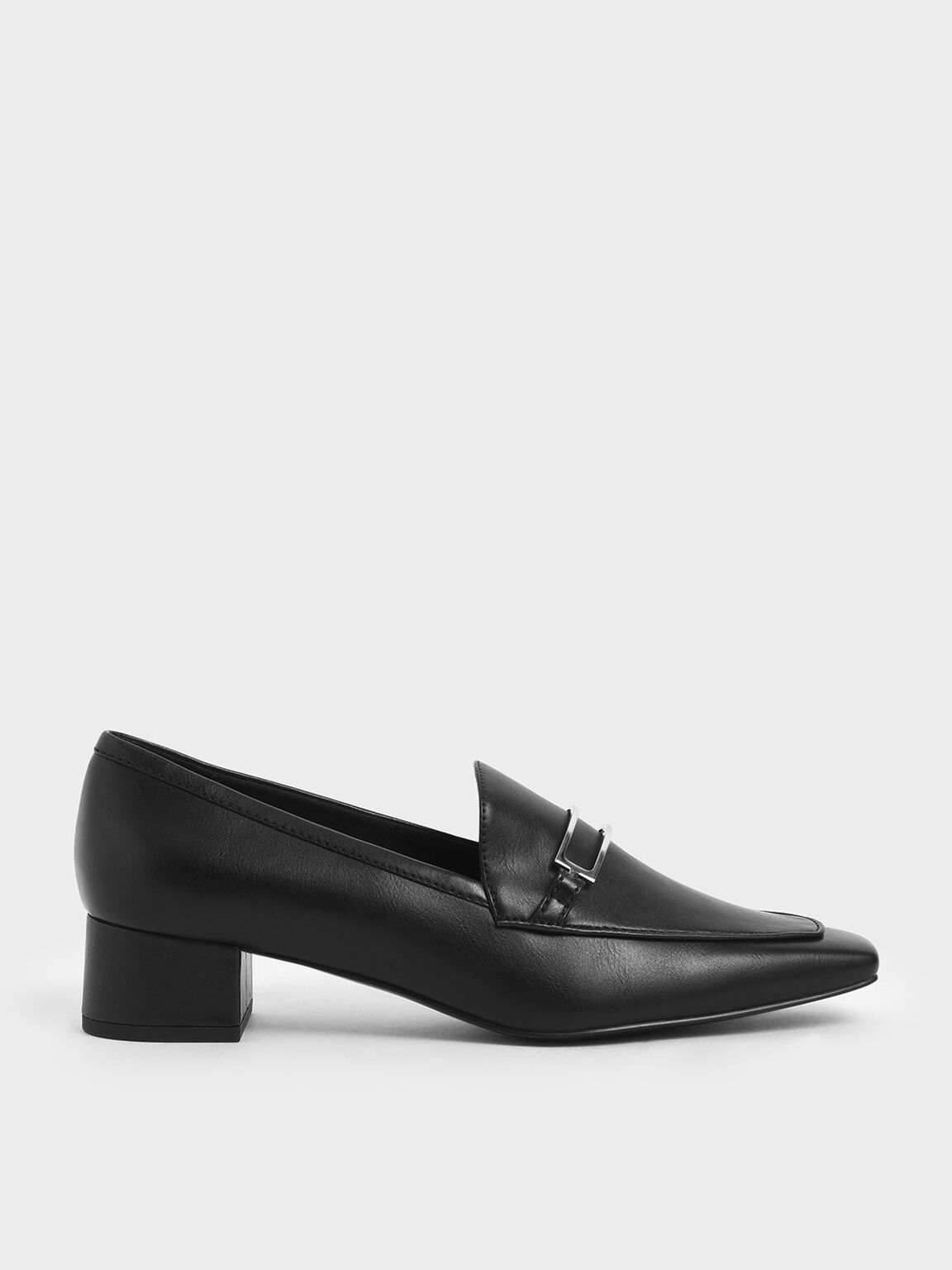 Metal Accent Block Heel Loafers, Black, hi-res