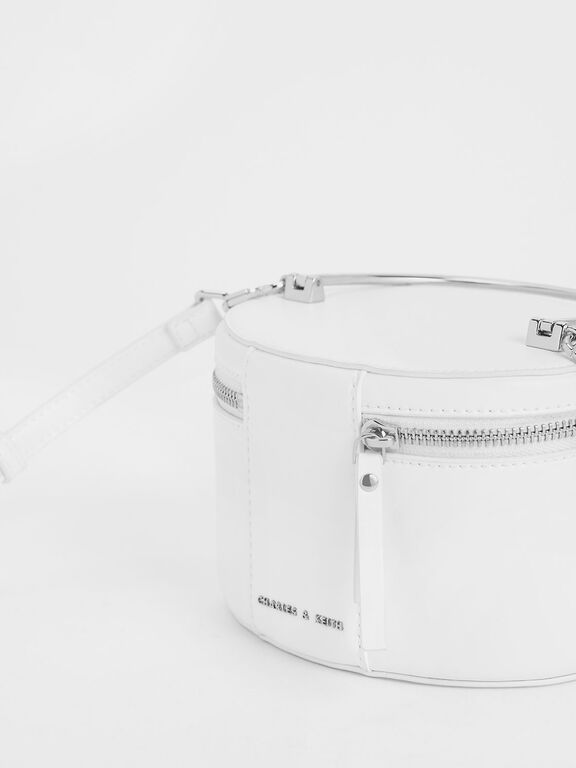 Metal Top Handle Round Structured Bag, White
